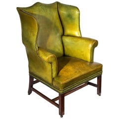 English 18th Century Chippendale Wingback Green Leather Library Armchair