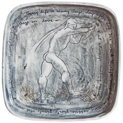 Every Life Is Many Days, Laguna Beach Dish with Male Nude, James Joyce Quote