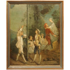 19th Century French Oil Painting After Nicolas Lancret, La Jeunesse