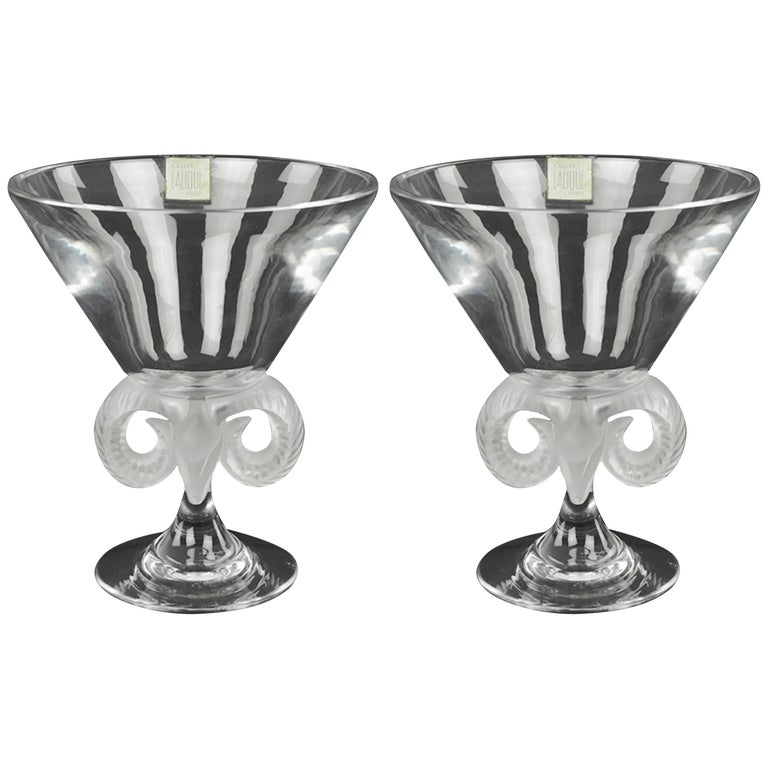 Pair of Lalique Crystal ' Aries' Composte