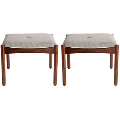 Michel Arnoult Stools in Brazilian Jacaranda with Linen Seats