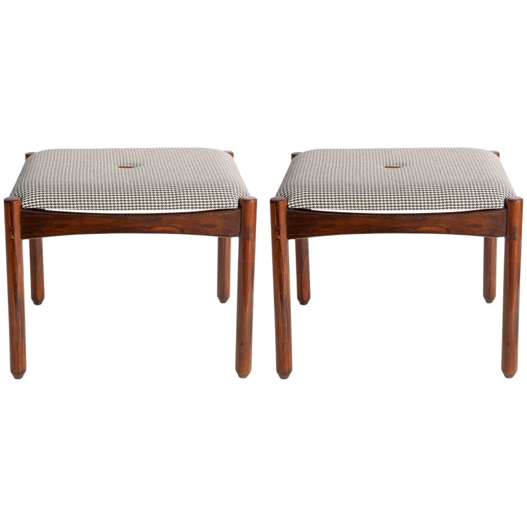 Michel Arnoult Stools in Brazilian Jacaranda with Linen Seats For Sale