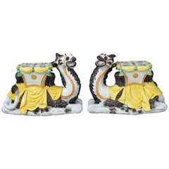 Pair of Italian Majolica Camel Side Tables or Garden Seat