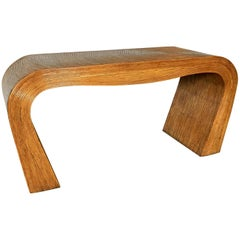 Pencil Reed Bamboo Console Sofa Table, Gabriella Crespi Style