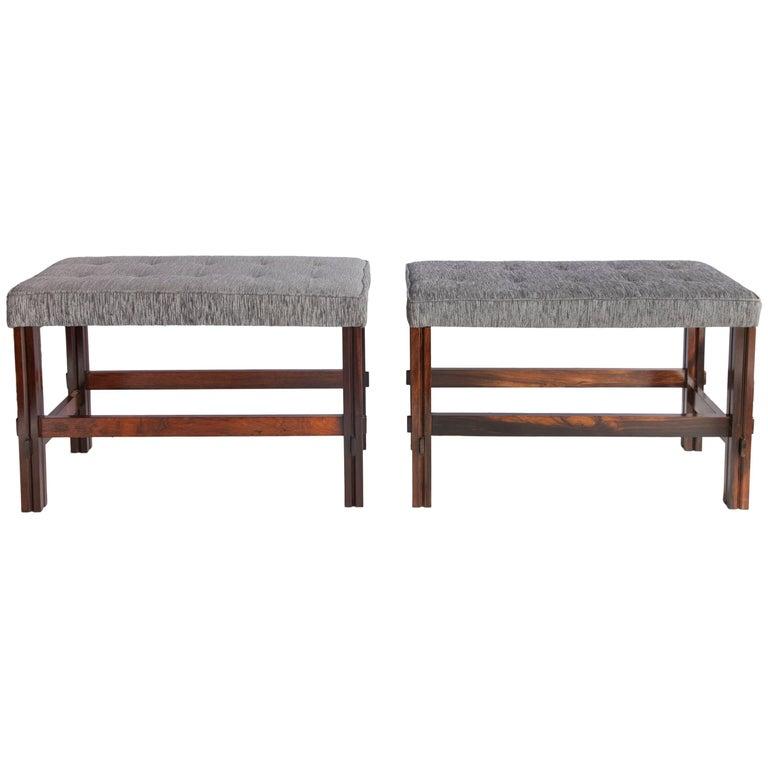 Mid century modern brazilian jacaranda stools with chenille seats for sale at 1stdibs - Brazilian mid century modern furniture ...