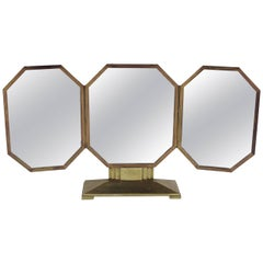 French Art Deco Bronze Vanity Mirror