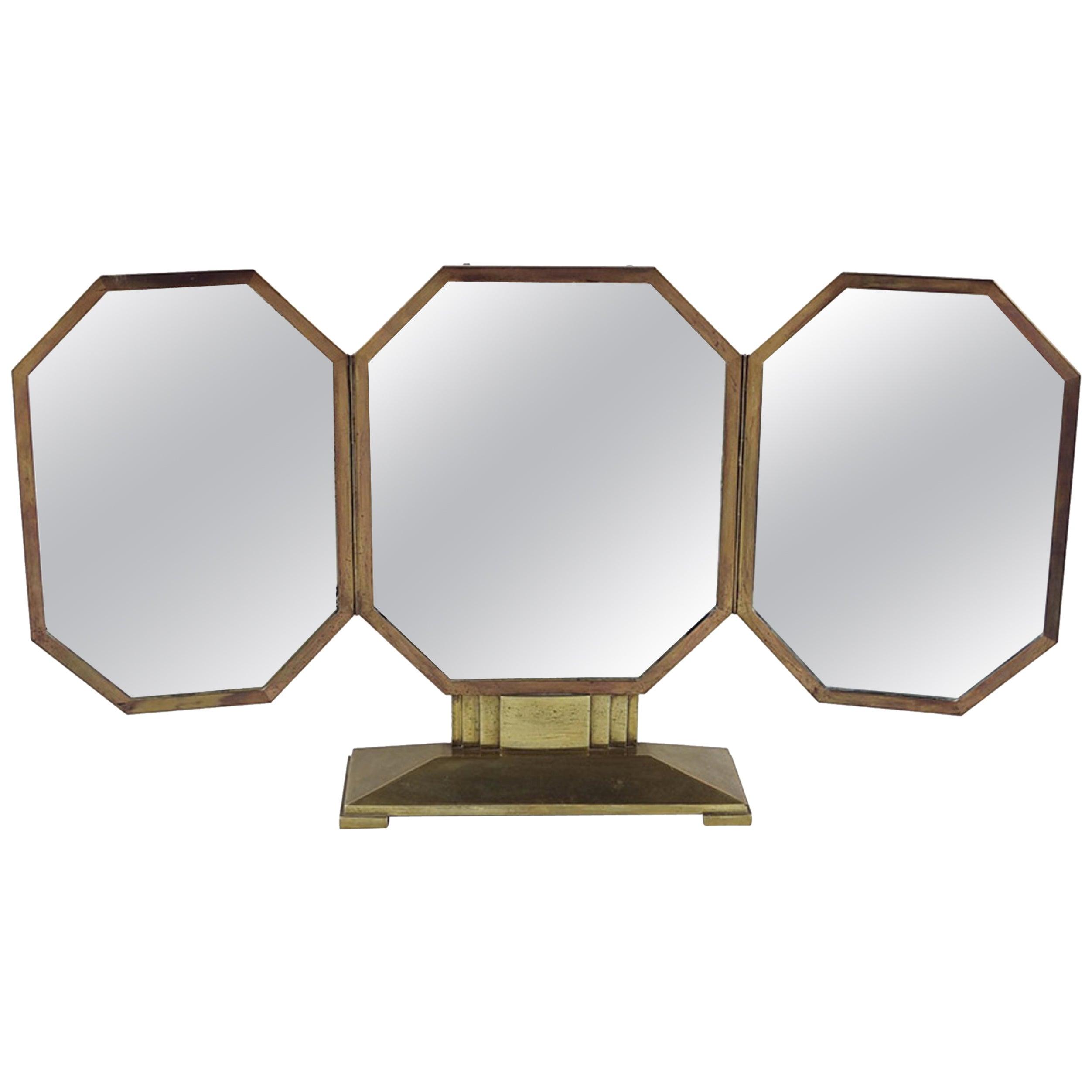 French Art Deco Bronze Vanity Mirror, Original Mirrors, Great Scale