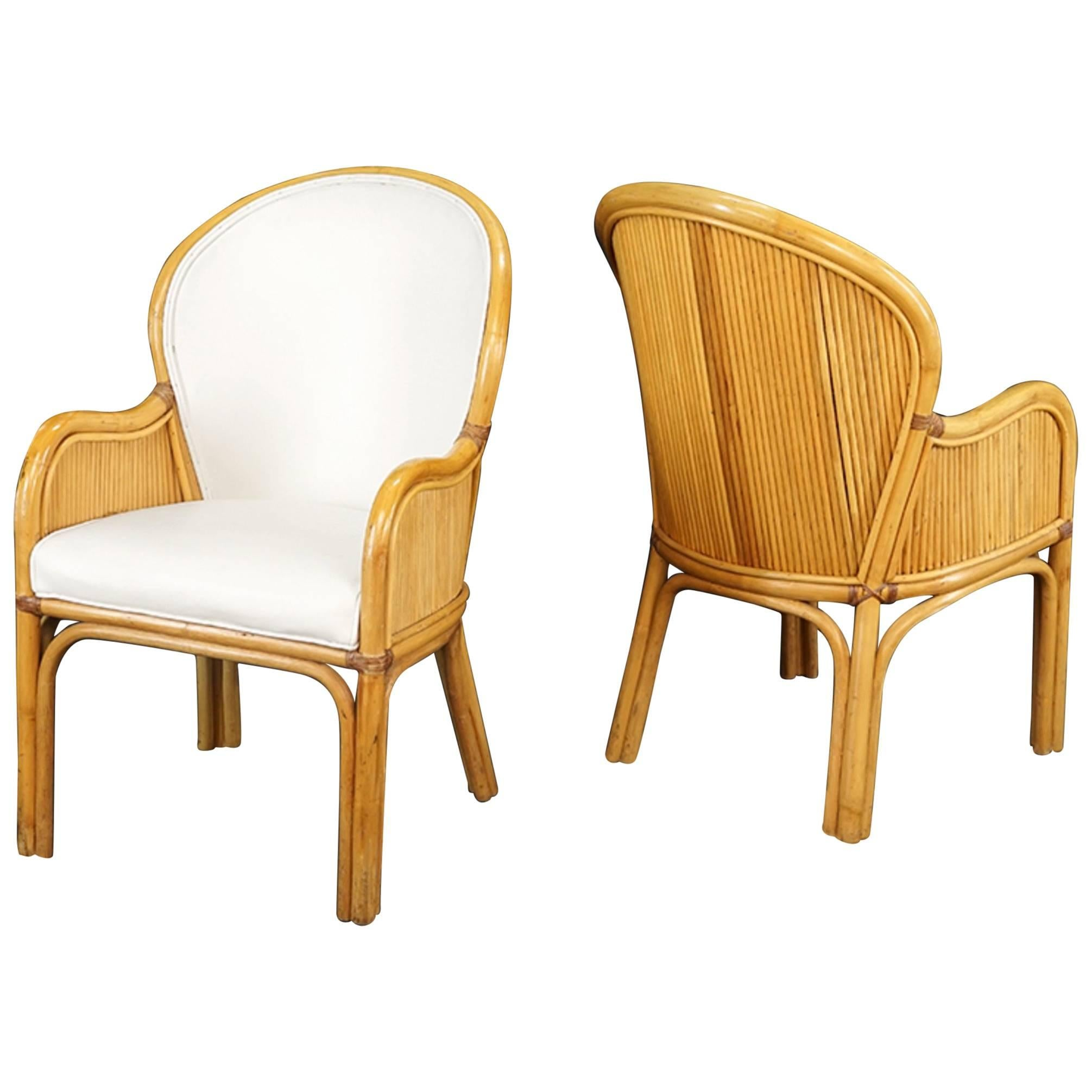 Set Of Ten Rattan Frame Chairs With White Upholstery