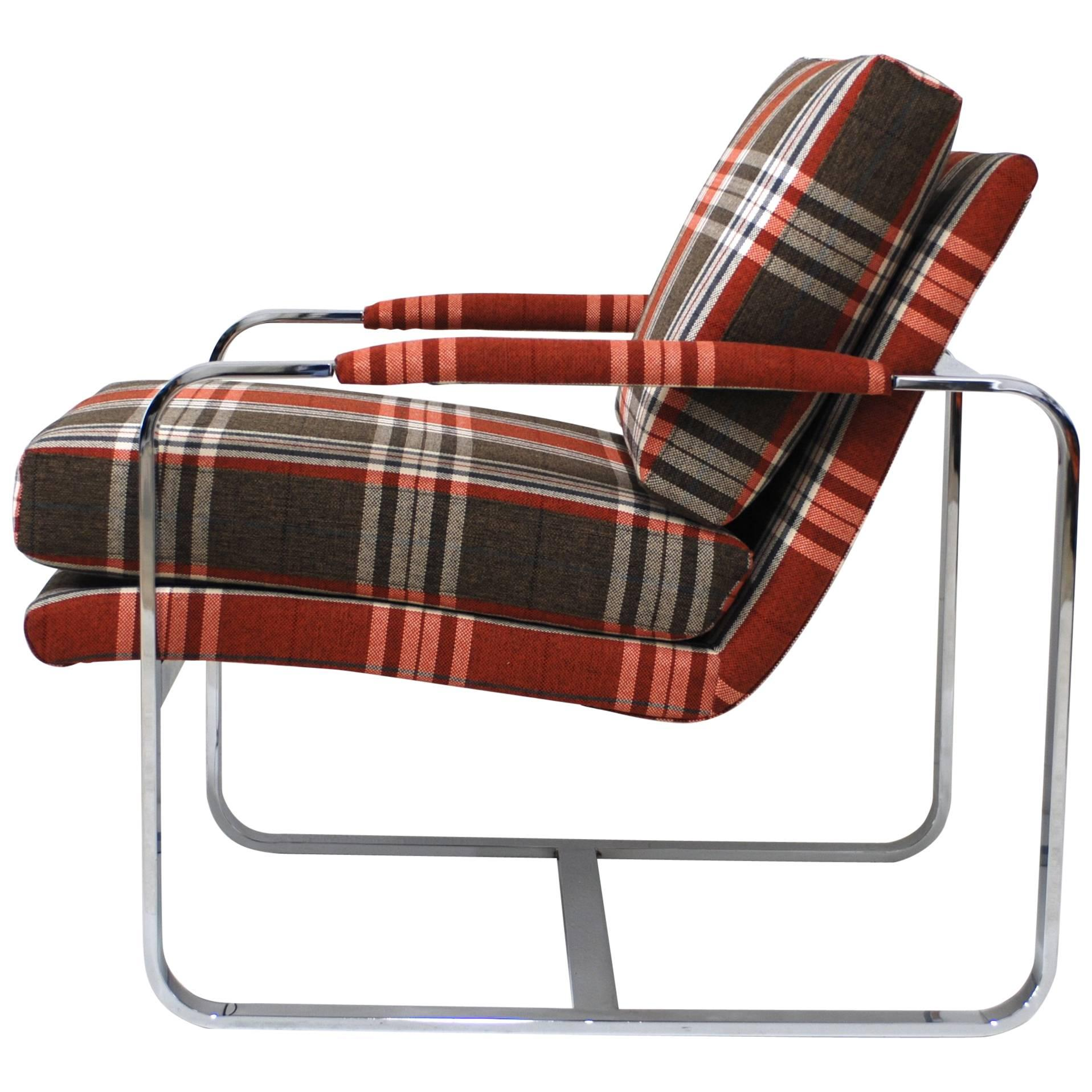 Chrome Milo Baughman Style Lounge Chair With Tartan Fabric For Sale