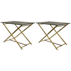 Pair of Mid-Century Modern Brass, Leather and Glass Side Tables by Hermes