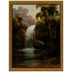 Danish Oil Landscape Painting of Waterfall