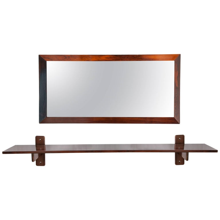 Brazilian Midcentury Jacaranda Wall Console by Sergio Rodrigues and Mirror For Sale