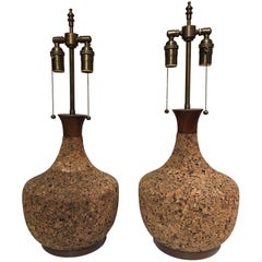 Pair of Midcentury Cork Lamps