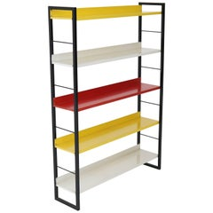 Mid-Century Modern Multicolored Metal Standing Bookshelf by Tomado, 1950s
