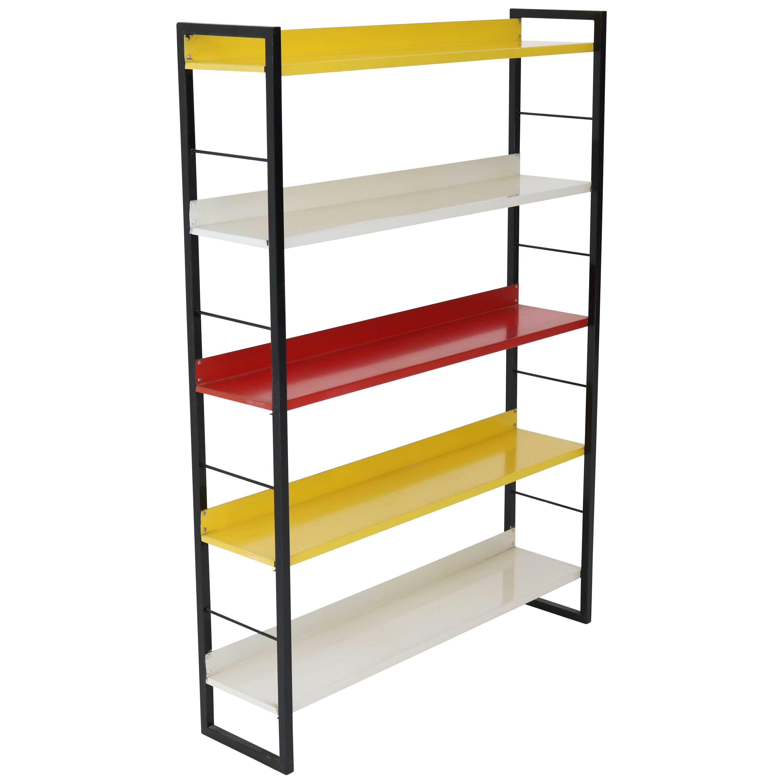 midcentury modern metal standing bookshelf by tomado 1950s