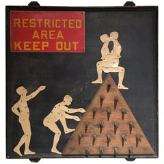 "Primitive American Collage Artist Lenny Kislin ""RESTRICTED AREA KEEP OUT"""