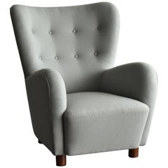 Erik Wørts, Armchair in Light Grey Fabric, Cuban Mahogany Legs, circa 1941