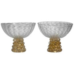 Barovier Murano Pair of Art Deco Pedestal Bowls with Lenti Bases