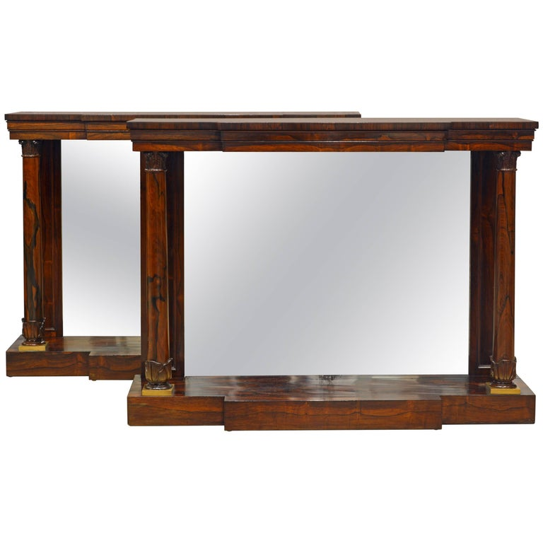 Pair of Superior English Regency Mirrored Breakfront Rosewood Console Tables For Sale