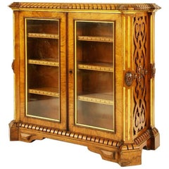 William IV Walnut Bookcase Folio Cabinet In The Manner of Richard Bridgens