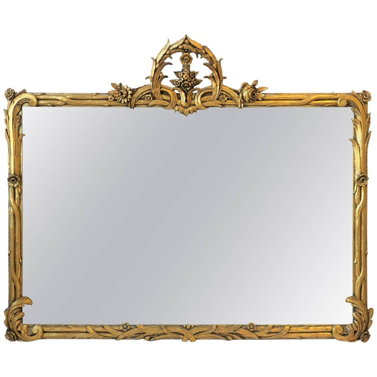 Italian Art Nouveau Gold Giltwood Wall Mirror For