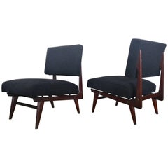 "1950 ""Dassi Arredamenti"" Armchairs in Mahogany Wood and Black Velvet Seat"