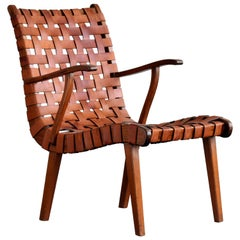 Brazilian Lounge Chair, Original Leather Webbing, Teak, 1950s
