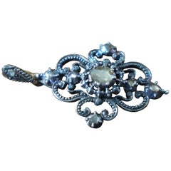 Late 19th Century Silver Pendant with Eight Rose Diamonds, circa 1880-1890