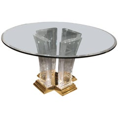 Jeffery Bigelow Brass Lucite and Glass Dining Table