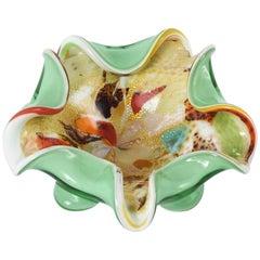 Dino Martens Italian Murano Glass Bowl Pastel Colors Gold Flecks Tutti Frutti