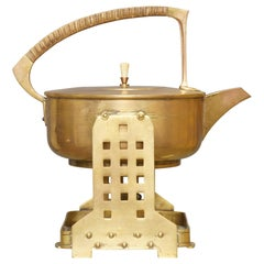 Jan Eisenloeffel Brass Spirit Kettle on Stand, circa 1905