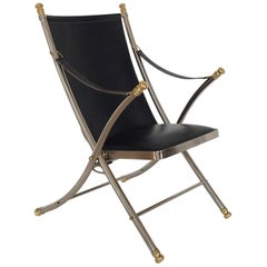 Folding Steel and Brass Campaign Chair by Maison Jansen, Italy, 1970s