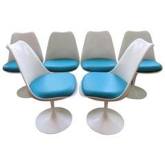 Set of six Knoll Saarinen Swivel Tulip Dining Chairs Mid-Century Modern
