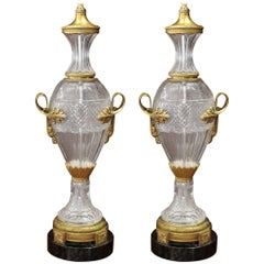 Pair of Louis XVI Style Cut Crystal Lamps with Gilt Bronze Mounts