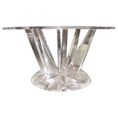 Lucite Table with Flaring Legs and Lucite Top
