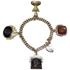 Georgian Gold Bracelet with Locket and Four Carnelian Intaglios