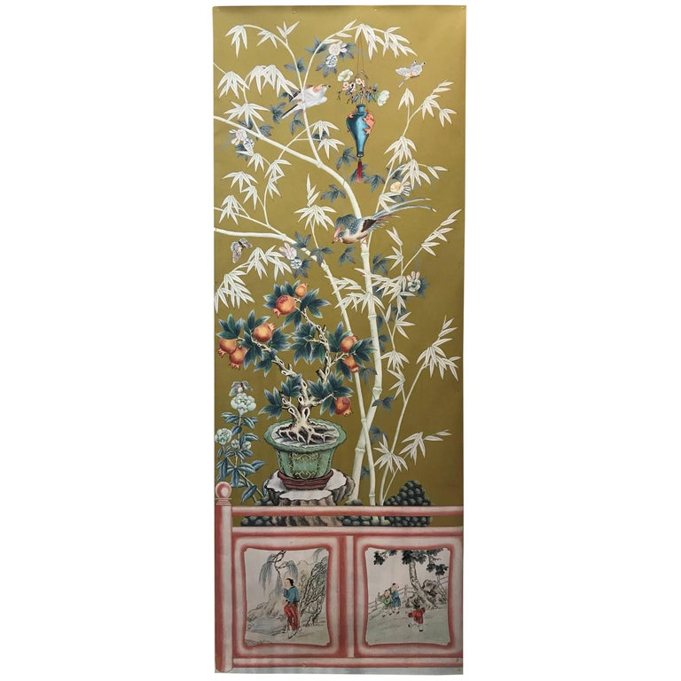Vintage 1970s Hand-Painted Wallpaper For Sale