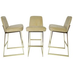 Set of Three Brass Bar Stools in the Manner of Milo Baughman by Tri-Mark