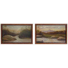 Pair of Hudson River School Landscape Oil Paintings, Maine, circa 19th Century