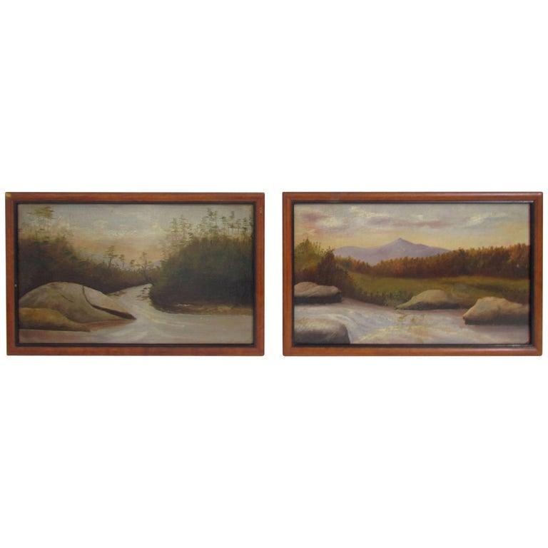 Pair of Hudson River School Landscape Oil Paintings, Maine, circa 19th Century
