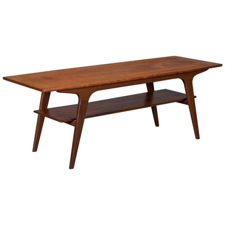 Danish modern teak two tier coffee table for sale at 1stdibs for Modern coffee table for sale