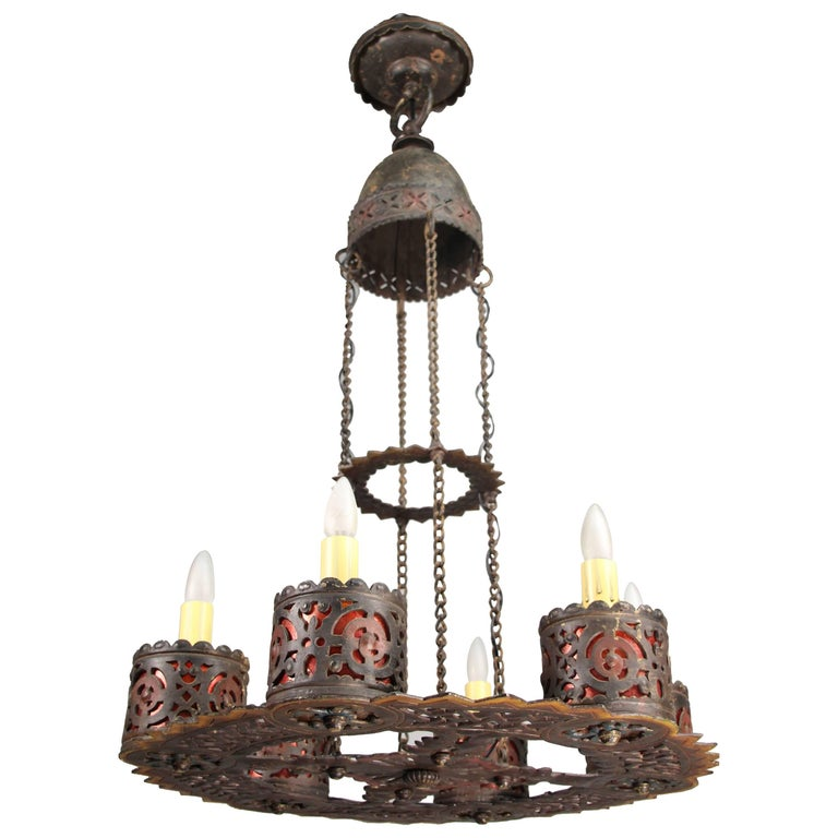 Outstanding 1920s Wrought Iron Chandelier with Polychrome, Oscar Bach Attributed