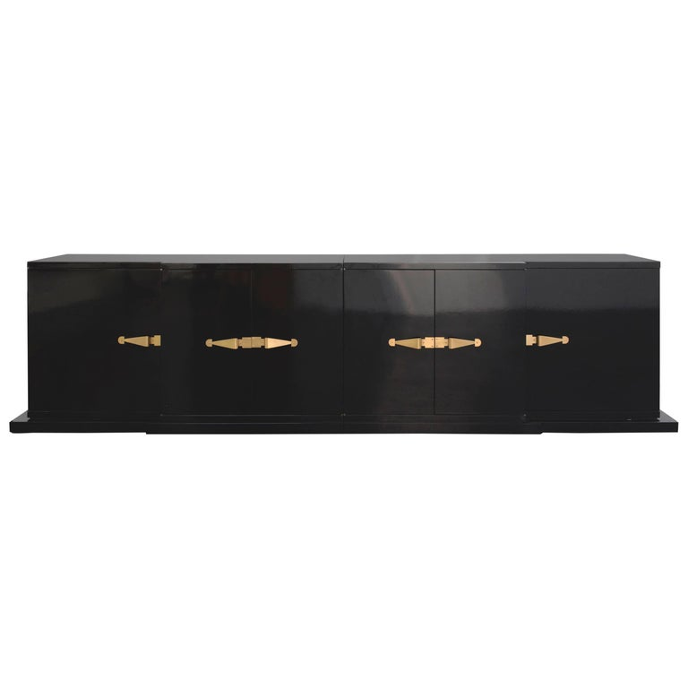 Tommi Parzinger, Large Black Lacquered Cabinet, Brass Pulls, 1960s