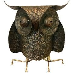 C. Jere Artisan House Large the Professor Owl Brutalist Metal Sculpture