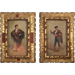 Pair of Spanish 19th Century Oil Paintings of Dancers