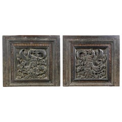 Pair of Italian Renaissance Carved Walnut Door Panels