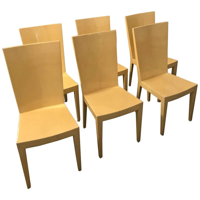 S 6 Mid Century Modern Carl Karl Springer Style Parchment Jmf Side Dining Chairs