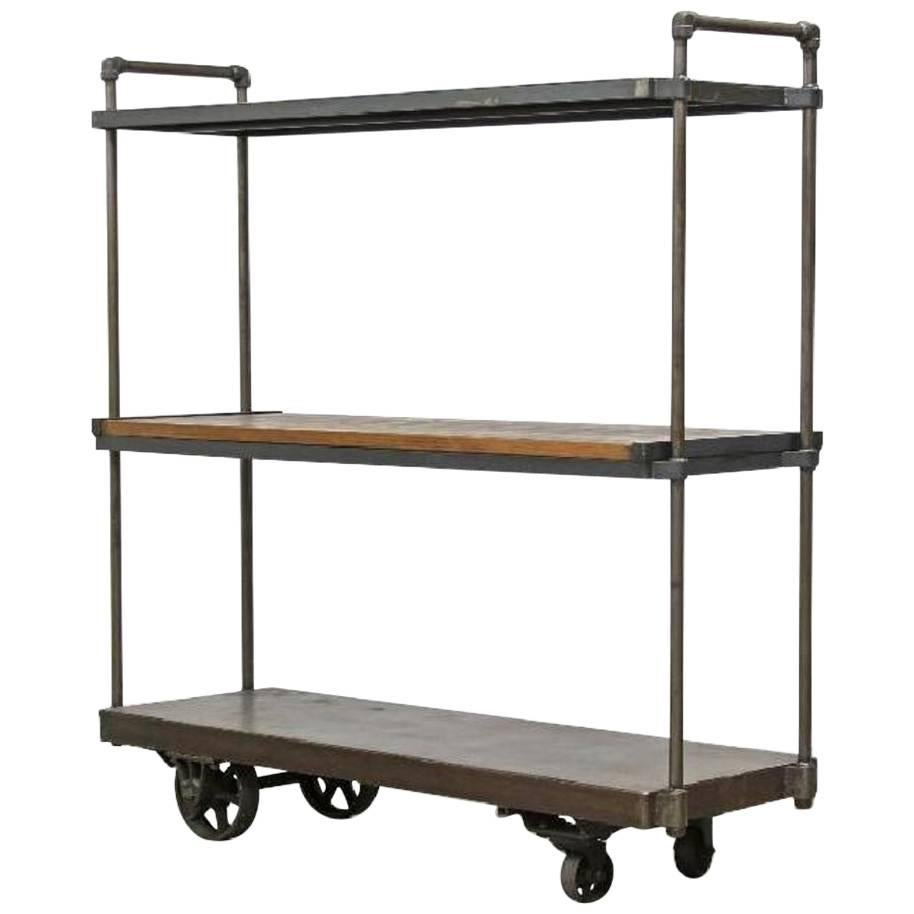 Merveilleux Industrial Iron Reclaimed Wood Triple Shelving Loft Open Closet For Sale