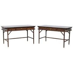 Westin Mitchell Parlor Modern Desk Walnut Brass Glass, Pair