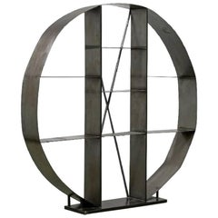 Industrial Steel Open Shelving Room Divider Round Store Display